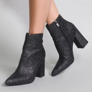 New Black Sparkly Ankle Boots